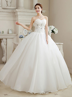cheap Evening Dresses-Ball Gown Wedding Dresses Sweetheart Neckline Floor Length Organza Strapless Glamorous Sparkle & Shine with Beading Flower 2020