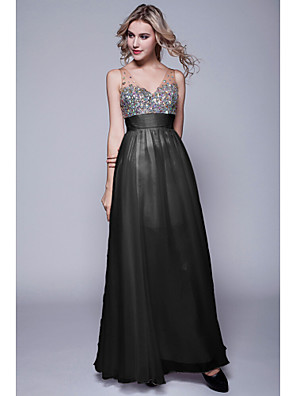 cheap Special Occasion Dresses-Sheath / Column Formal Evening Dress Straps Sweetheart Neckline Sleeveless Floor Length Chiffon with Sequin 2020