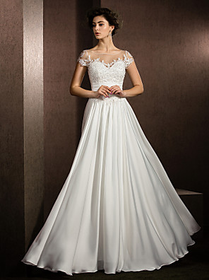 cheap Wedding Dresses-A-Line Wedding Dresses Scoop Neck Floor Length Satin Chiffon Short Sleeve Casual Plus Size with Beading Appliques 2020