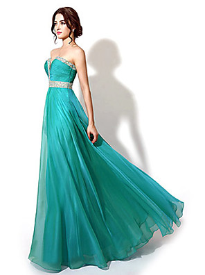 cheap Special Occasion Dresses-A-Line Sparkle & Shine Formal Evening Dress Sweetheart Neckline Sleeveless Floor Length Chiffon with Beading 2020
