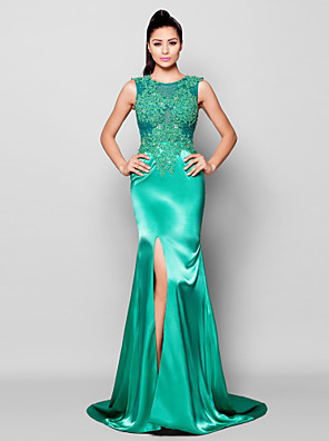cheap Special Occasion Dresses-Mermaid / Trumpet Furcal Formal Evening Dress Jewel Neck Sleeveless Court Train Charmeuse with Beading Appliques Split Front 2020
