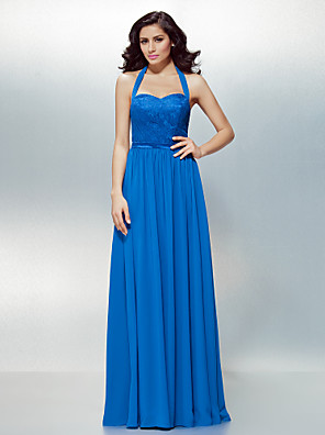 cheap Special Occasion Dresses-A-Line Open Back Formal Evening Dress Halter Neck Sleeveless Floor Length Chiffon Lace with Lace Sash / Ribbon 2020