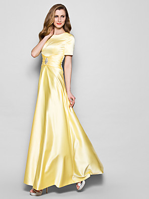 cheap Evening Dresses-A-Line Mother of the Bride Dress Elegant Vintage Plus Size Jewel Neck Floor Length Satin Short Sleeve with Sash / Ribbon Ruched Crystals 2020