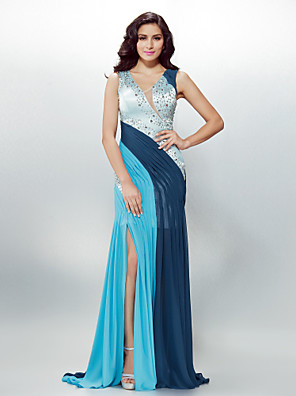 cheap Evening Dresses-Sheath / Column Beautiful Back Holiday Cocktail Party Formal Evening Dress V Neck Sleeveless Sweep / Brush Train Chiffon with Crystals Beading Side Draping 2020
