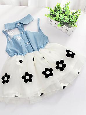 cheap Girls' Dresses-Girls' Floral Floral Patchwork Sleeveless Long Dress White / Cotton