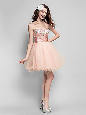 cheap Special Occasion Dresses-Back To School Ball Gown Fit & Flare Sparkle & Shine Beaded & Sequin Homecoming Prom Dress Sweetheart Neckline Sleeveless Short / Mini Tulle with Ruched Beading 2020 Hoco Dress