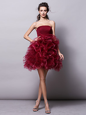 cheap Cocktail Dresses-Ball Gown Hot Red Homecoming Cocktail Party Dress Strapless Sleeveless Short / Mini Tulle with Ruched Tier 2020
