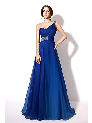 cheap Evening Dresses-A-Line Formal Evening Dress One Shoulder Sleeveless Floor Length Chiffon with Crystals Beading 2020 / Color Gradient