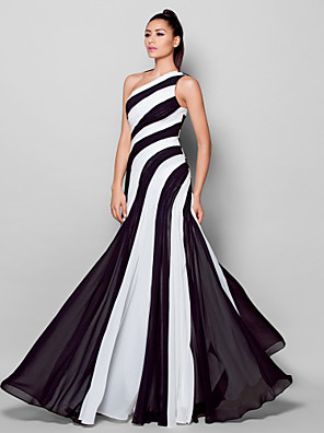 cheap Evening Dresses-Sheath / Column Color Block Holiday Cocktail Party Formal Evening Dress One Shoulder Sleeveless Floor Length Chiffon with Side Draping 2020