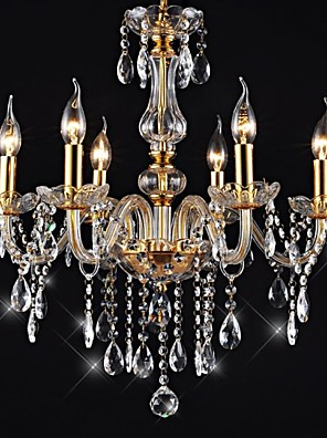 """cheap Special Occasion Dresses-6-Light 55(21.7"""") Crystal / LED Chandelier Glass Glass Candle-style Electroplated Traditional / Classic 110-120V / 220-240V"""