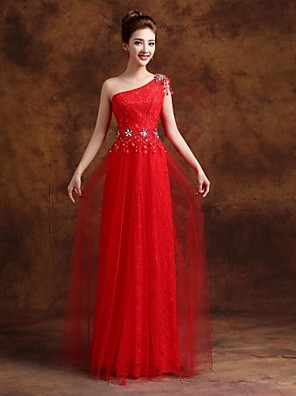 cheap Evening Dresses-Sheath / Column Formal Evening Dress One Shoulder Floor Length Tulle with Crystals Appliques 2020