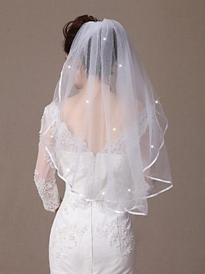 cheap Wedding Veils-One-tier Ribbon Edge / Beaded Edge Wedding Veil Elbow Veils with Scattered Crystals Style 31.5 in (80cm) Tulle