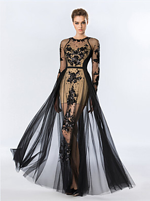 cheap Special Occasion Dresses-Sheath / Column See Through Formal Evening Dress Jewel Neck Floor Length Tulle with Beading Appliques 2020