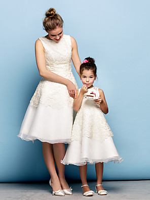 cheap Cocktail Dresses-A-Line Knee Length Party / Cocktail Party / Prom Flower Girl Dresses - Lace / Organza Sleeveless Jewel Neck with Lace / Mini Me