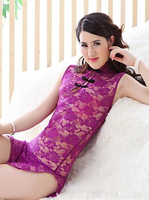 cheap Suits-Women's Split Super Sexy Lace Lingerie Ultra Sexy Uniforms & Cheongsams Nightwear Solid Colored White / Black / Purple S M L