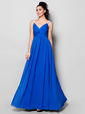 cheap Evening Dresses-A-Line Formal Evening Dress V Neck Sleeveless Floor Length Chiffon with Criss Cross Ruched Crystals 2020