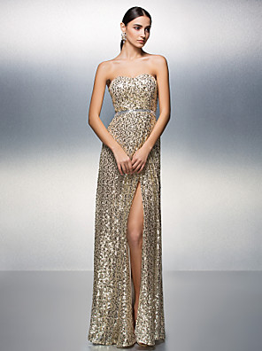 cheap Special Occasion Dresses-Sheath / Column Sparkle & Shine Furcal Prom Formal Evening Dress Strapless Sleeveless Floor Length Sequined with Sash / Ribbon Sequin Split Front 2020