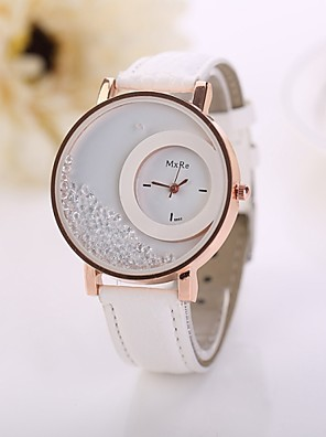 cheap Quartz Watches-Women's Quartz Quilted PU Leather White / Red / Pink Imitation Diamond Analog Ladies Flower Fashion - Brown Red Blue One Year Battery Life / Jinli 377