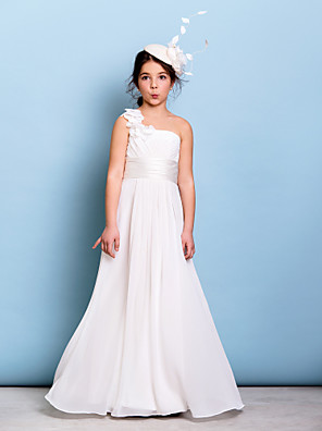 cheap Junior Bridesmaid Dresses-A-Line One Shoulder Floor Length Chiffon Junior Bridesmaid Dress with Sash / Ribbon / Criss Cross / Ruched / Natural