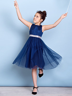 cheap Junior Bridesmaid Dresses-A-Line Jewel Neck Knee Length Tulle Junior Bridesmaid Dress with Sequin / Draping / Sash / Ribbon / Natural