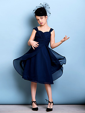 cheap Junior Bridesmaid Dresses-A-Line Straps Knee Length Chiffon Junior Bridesmaid Dress with Sash / Ribbon / Criss Cross / Ruched / Natural
