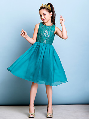 cheap Flower Girl Dresses-A-Line Jewel Neck Knee Length Chiffon / Sequined Junior Bridesmaid Dress with Sequin