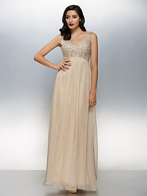 cheap Special Occasion Dresses-A-Line Sparkle & Shine Pastel Colors Beaded & Sequin Holiday Cocktail Party Formal Evening Dress V Neck Sleeveless Floor Length Chiffon with Beading 2020