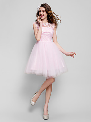 cheap Free Shipping-Back To School Ball Gown Floral Cute Pastel Colors Cocktail Party Prom Dress Illusion Neck Short Sleeve Short / Mini Tulle with Beading Appliques 2020 Hoco Dress
