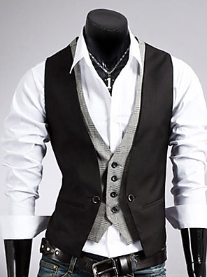 cheap Boys' Tops-Men's Vest Regular Solid Colored Work Sleeveless Black / Brown M / L / XL / Business Formal / Slim