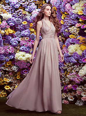 cheap Bridesmaid Dresses-Sheath / Column Halter Neck Floor Length Chiffon Bridesmaid Dress with Criss Cross