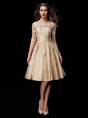 cheap Wedding Dresses-A-Line Wedding Dresses Scoop Neck Knee Length Taffeta Tulle Half Sleeve Vintage See-Through Illusion Sleeve with Sash / Ribbon Beading Appliques 2020