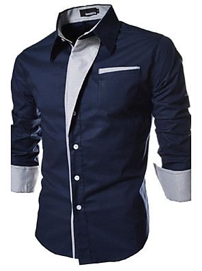 cheap Shirts-Men's Plus Size Solid Colored Basic Slim Shirt Daily Spread Collar White / Black / Navy Blue / Spring / Fall / Long Sleeve
