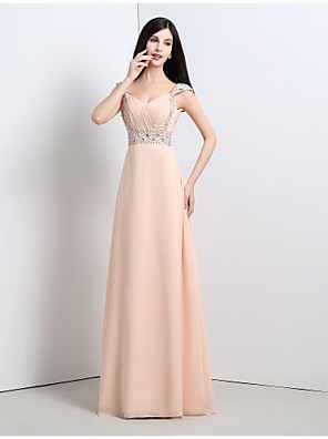 cheap Special Occasion Dresses-A-Line Formal Evening Dress Straps Floor Length Chiffon with 2020