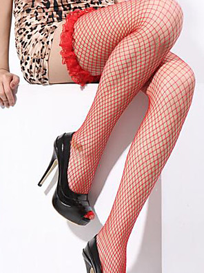 cheap Socks & Hosiery-Women's Super Sexy Stockings - Solid Colored, Ruffle Purple Red Pink One-Size