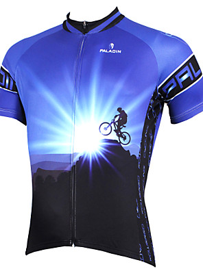 ILPALADINO Men s Short Sleeve Cycling Jersey - Blue Bike Jersey Top  Breathable Quick Dry Ultraviolet Resistant 60a37efd0