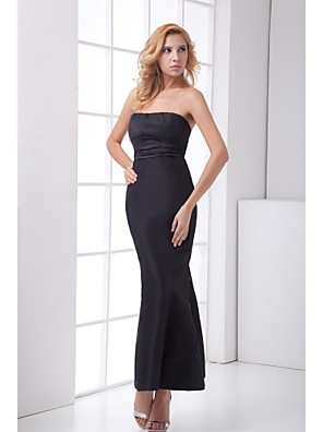 cheap Special Occasion Dresses-Mermaid / Trumpet Formal Evening Dress Strapless Ankle Length Satin with Bandage 2020