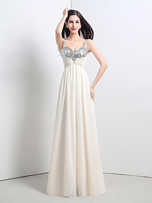 cheap Special Occasion Dresses-A-Line Sparkle & Shine Formal Evening Dress Straps Sleeveless Floor Length Chiffon Sequined with Lace Pleats Beading 2020