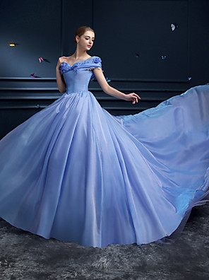 cheap Evening Dresses-Ball Gown Formal Evening Dress Off Shoulder Cathedral Train Organza with Pick Up Skirt 2020