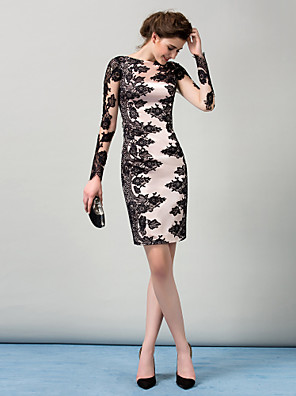 cheap Cocktail Dresses-Sheath / Column Color Block Black Wedding Guest Cocktail Party Dress Boat Neck Long Sleeve Knee Length Stretch Satin Lace Over Satin with Lace Insert 2020 / Illusion Sleeve