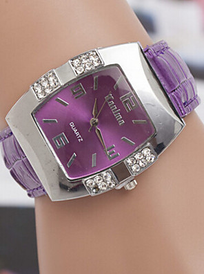 cheap Quartz Watches-Women's Fashion Watch Diamond Watch Square Watch Quartz Ladies Casual Watch Analog White Black Purple / Leather / One Year / One Year / SOXEY SR626SW