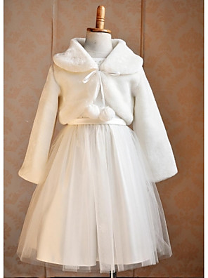 cheap Wedding Wraps-Long Sleeve Shrugs Faux Fur Wedding / Party Evening / Casual Kids' Wraps With Smooth / Fur