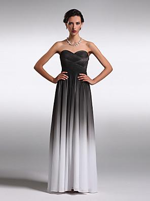 cheap Special Occasion Dresses-Sheath / Column Elegant Prom Formal Evening Dress Strapless Sweetheart Neckline Sleeveless Floor Length Chiffon with Criss Cross 2020