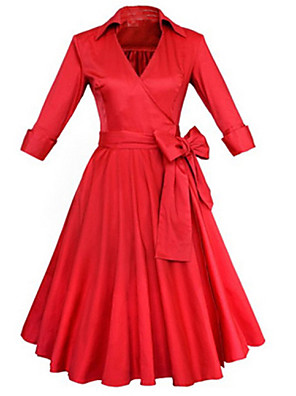 cheap Women's Dresses-Women's Knee Length Dress A-Line Dress Solid Colored Ruffle Spring Summer V Neck Vintage Party Black Red / Cotton