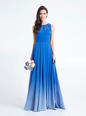 cheap Bridesmaid Dresses-Sheath / Column Scoop Neck Floor Length Chiffon Bridesmaid Dress with Ruched