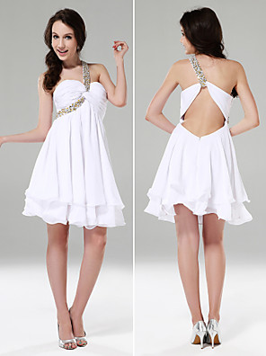 cheap Cocktail Dresses-Ball Gown Beautiful Back Holiday Graduation Cocktail Party Dress One Shoulder Sweetheart Neckline Sleeveless Short / Mini Chiffon Stretch Satin with Criss Cross Beading Draping 2020