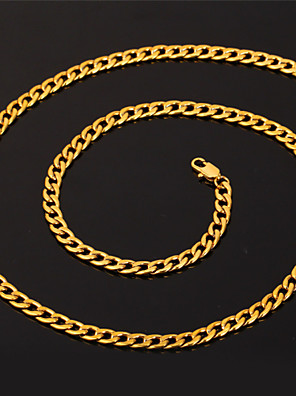 cheap Evening Dresses-Men's Chain Necklace Cuban Link Foxtail chain Box Chain Rock Fashion Hip-Hop 18K Gold Plated Stainless Steel Silver Plated White Black Gold Necklace Jewelry For Special Occasion Birthday Gift