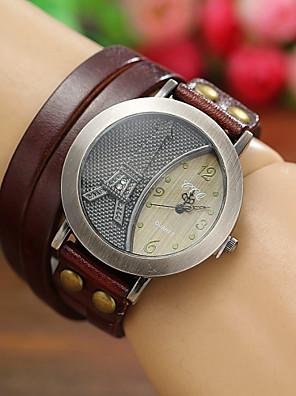 cheap Quartz Watches-Women's Ladies Wrist Watch Wrap Bracelet Watch Quartz Leather Black / White / Blue Hot Sale Analog Eiffel Tower Bohemian Fashion - Red Green Blue