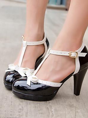 cheap Wedding Slips-Women's Plus Size Platform Cone Heel Dress Office & Career Bowknot Leatherette Summer White / Black / Red / EU40
