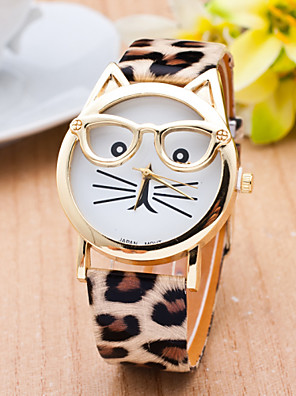 cheap Quartz Watches-Women's Ladies Wrist Watch Quartz Cat Quilted PU Leather Black / White / Brown Casual Watch Analog Casual Fashion - Black Leopard White One Year Battery Life / SSUO 377