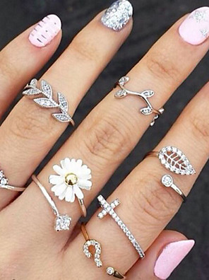 cheap Quartz Watches-Women's Knuckle Ring Rings Set 3pcs Gold Silver Rhinestone Imitation Diamond Alloy Ladies Unusual Unique Design Party Daily Jewelry Stacking Stackable Leaf Flower